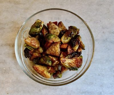 roasted brussels and sweet potatoes