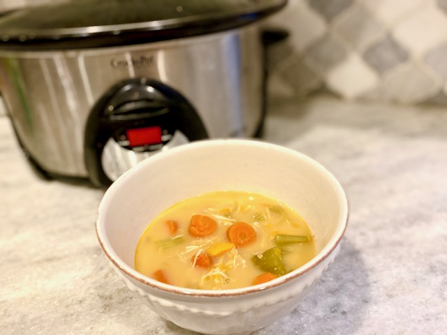 loaded sweet potato soup